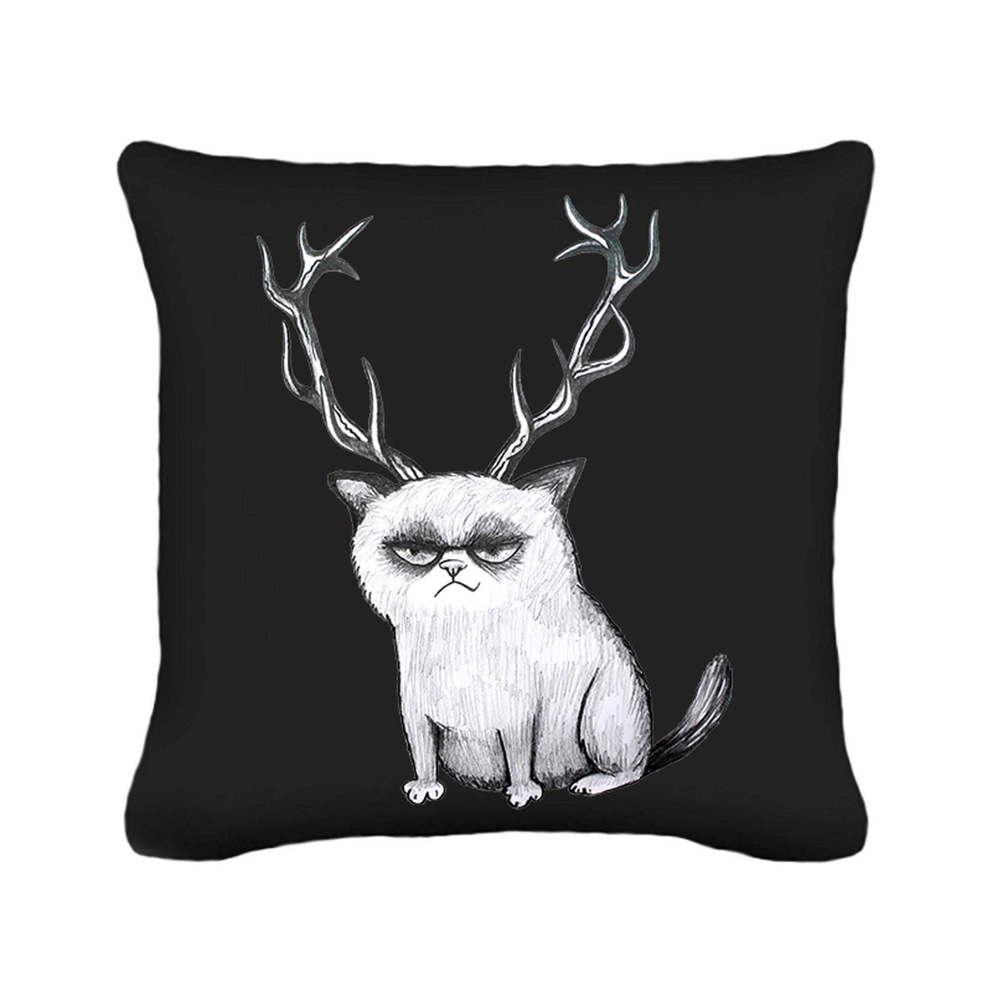 kissen dekokissen grumpy cat katze mit geweih inklusive f llung k43 wandtattoos elfent r tassen. Black Bedroom Furniture Sets. Home Design Ideas