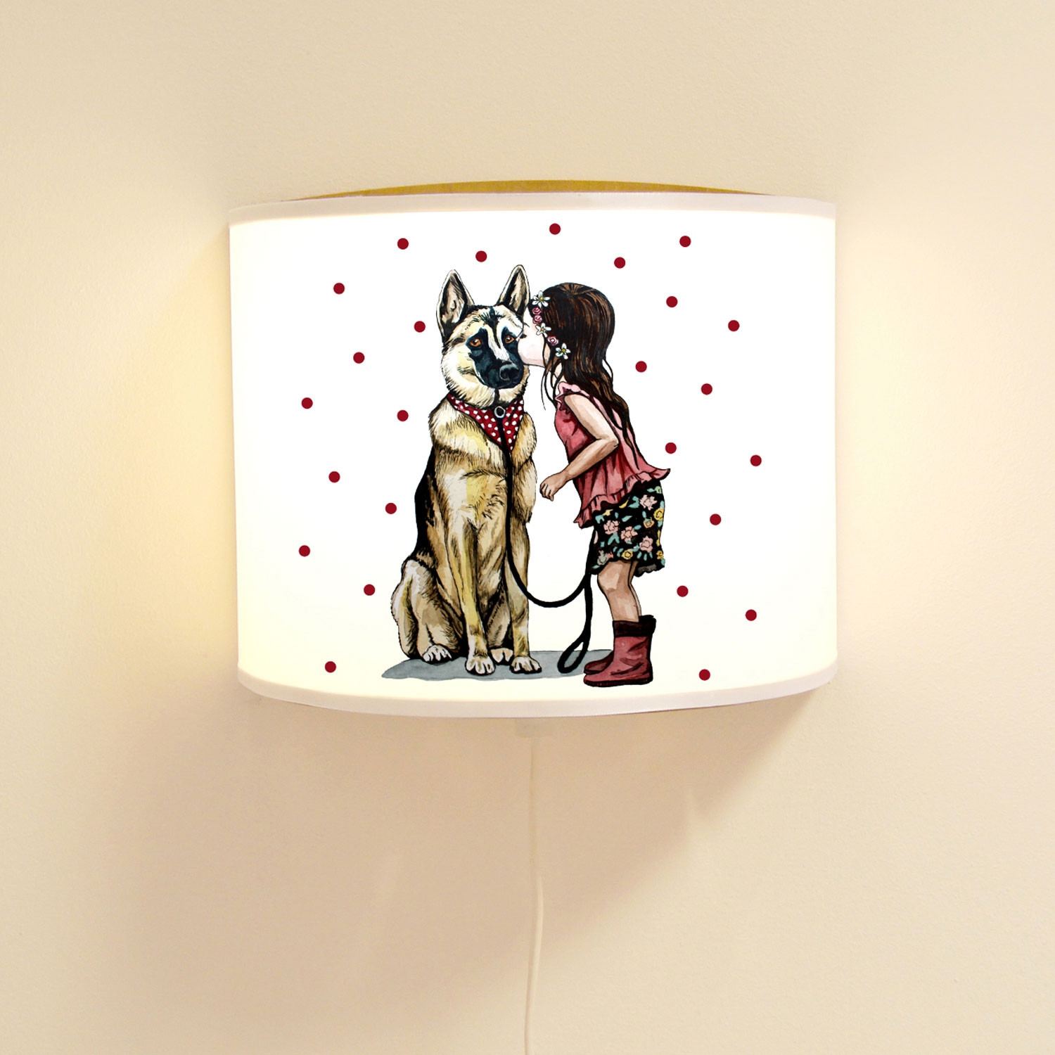 leseschlummerlampe lampe mit hund sch ferhund m dchen hundelampe mit punkte ls78 wandtattoos. Black Bedroom Furniture Sets. Home Design Ideas