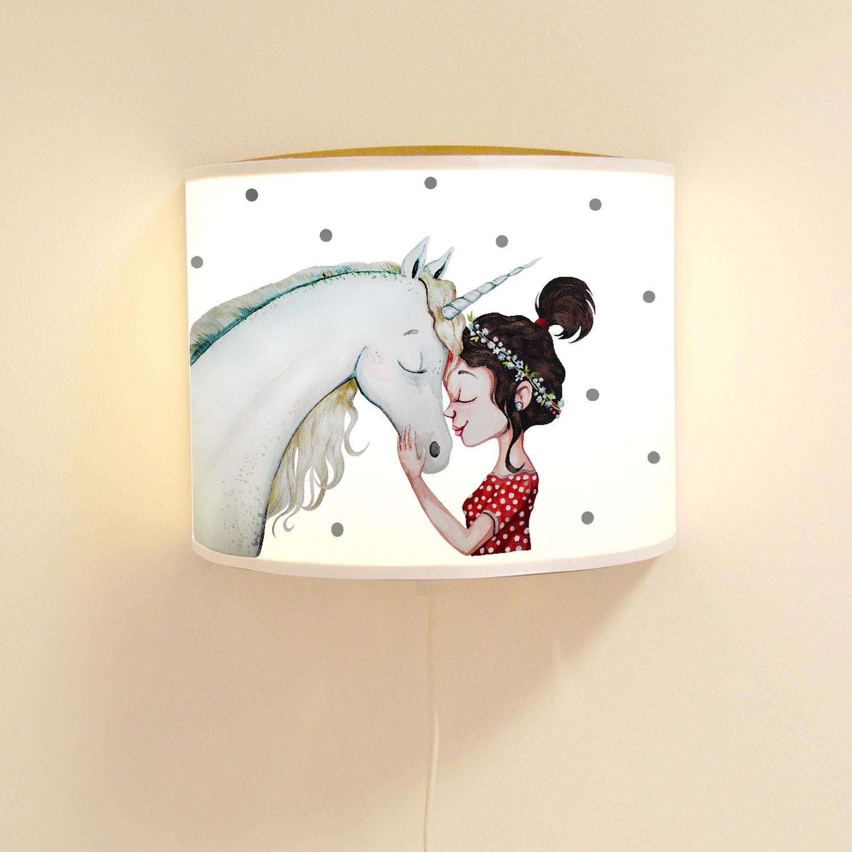 wandlampe kinderlampe mit s en einhorn m dchen lampe. Black Bedroom Furniture Sets. Home Design Ideas