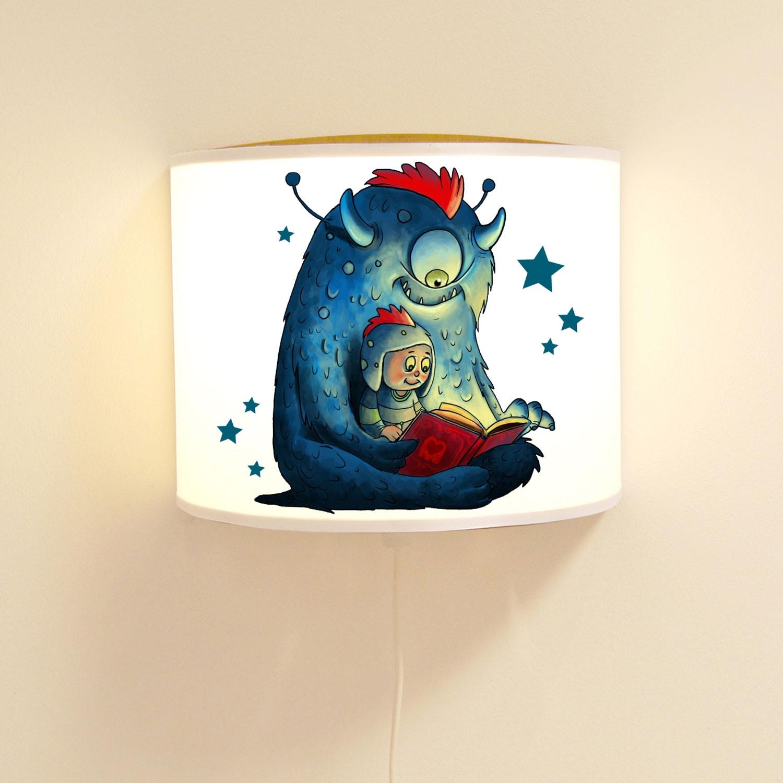 Kinderlampe Wandlampe süßes Monster mit Kind Monsterlampe Lampe ...