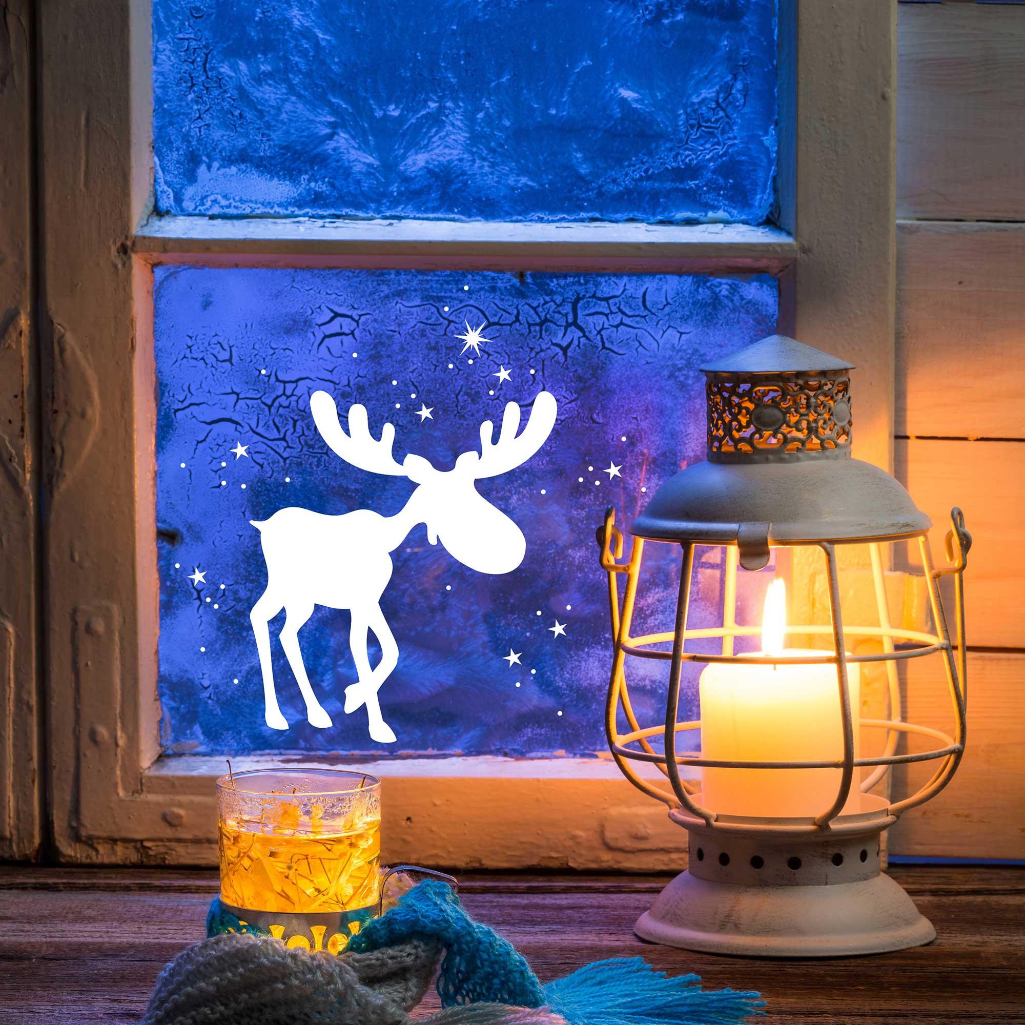 Fensterbild fensterdeko elch rudolf mit schneeflocken - Fensterdeko winter ...