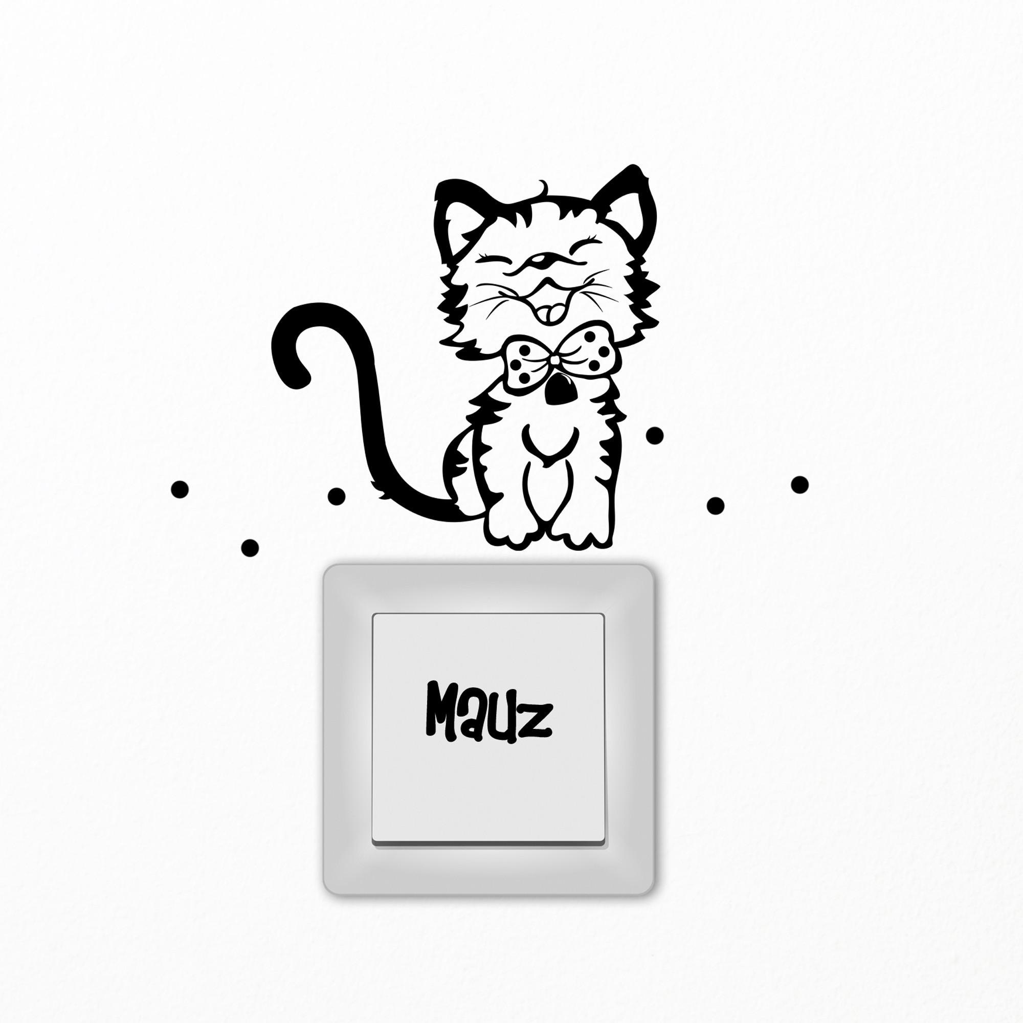 Gewaltig Wandtattoo Katzen Galerie Von Lichtschaltertattoo Katze Kätzchen Mit Puntken Und Schriftzug