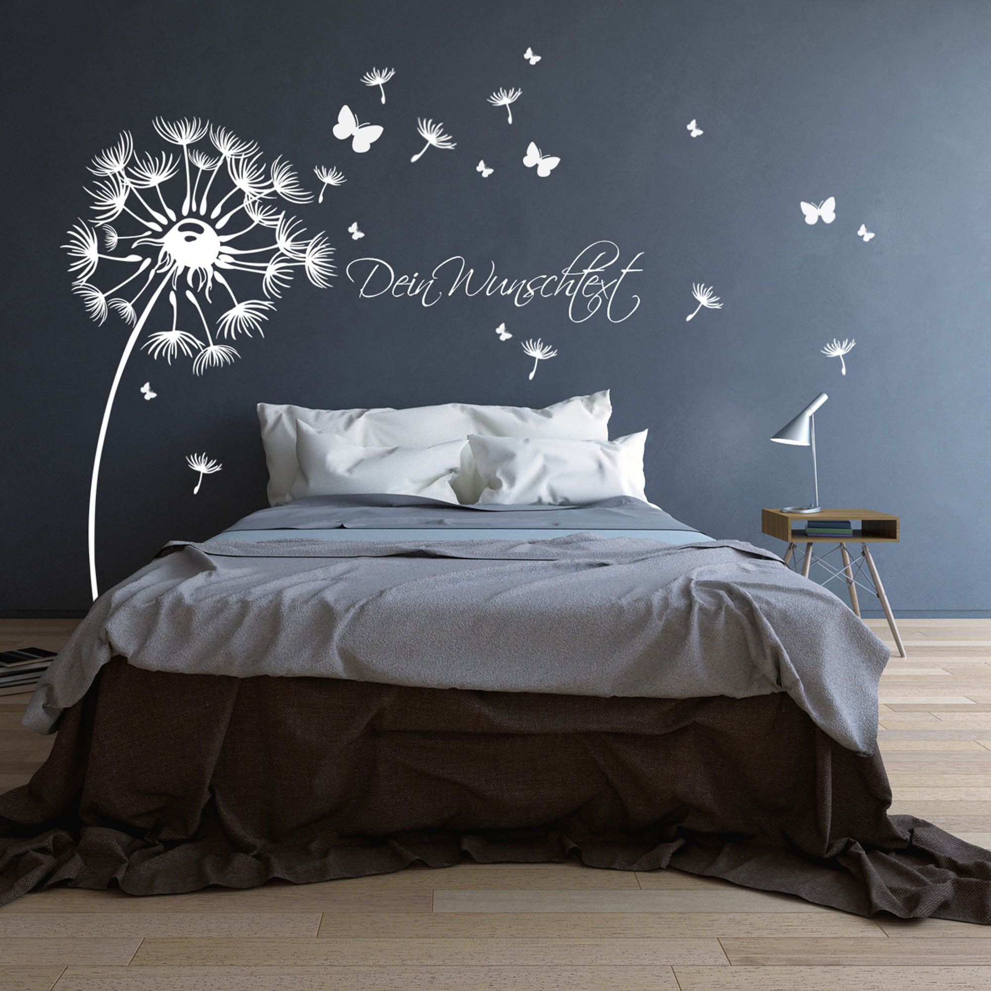 wandtattoo pusteblume mit schmetterlingen und wunschtext. Black Bedroom Furniture Sets. Home Design Ideas