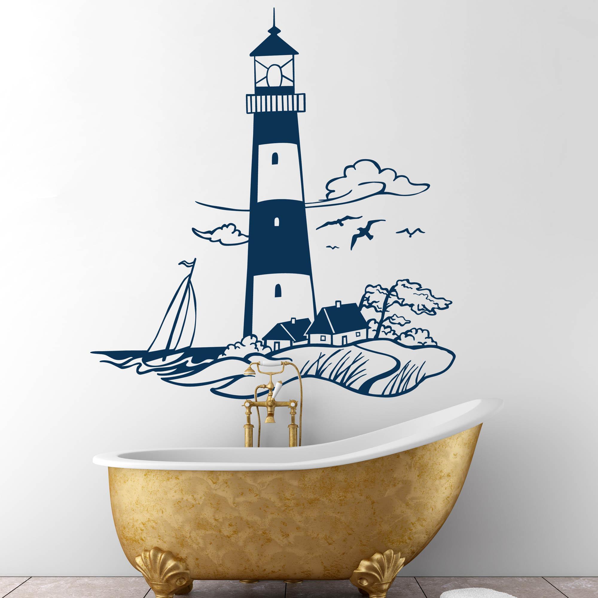 Wandtattoo leuchtturm meer k ste maritime landschaft m1430 wandtattoos elfent r tassen - Maritime wandtattoos ...