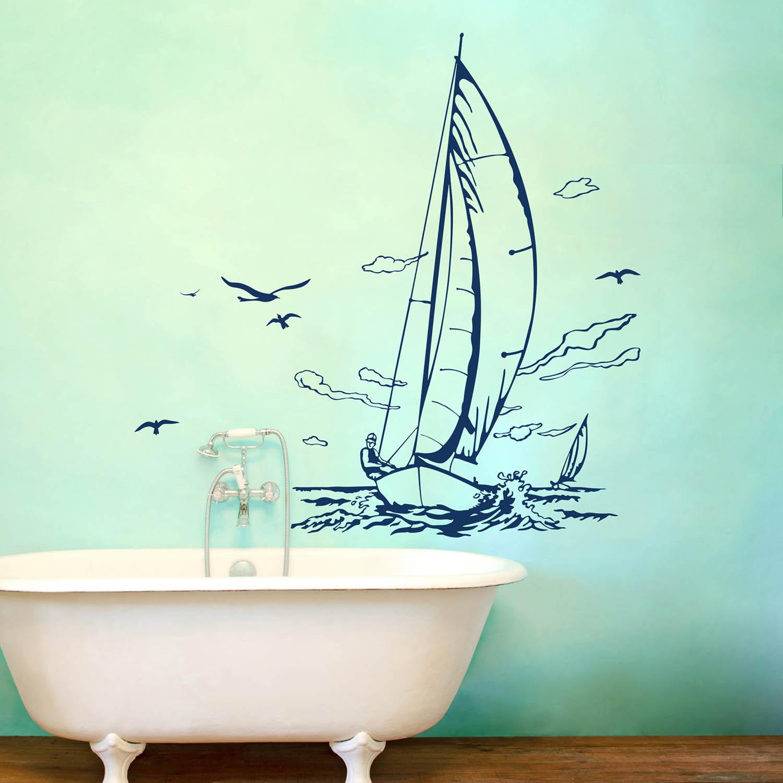 wandtattoo wandaufkleber segler yacht segelschiff m1507 wandtattoos elfent r tassen. Black Bedroom Furniture Sets. Home Design Ideas
