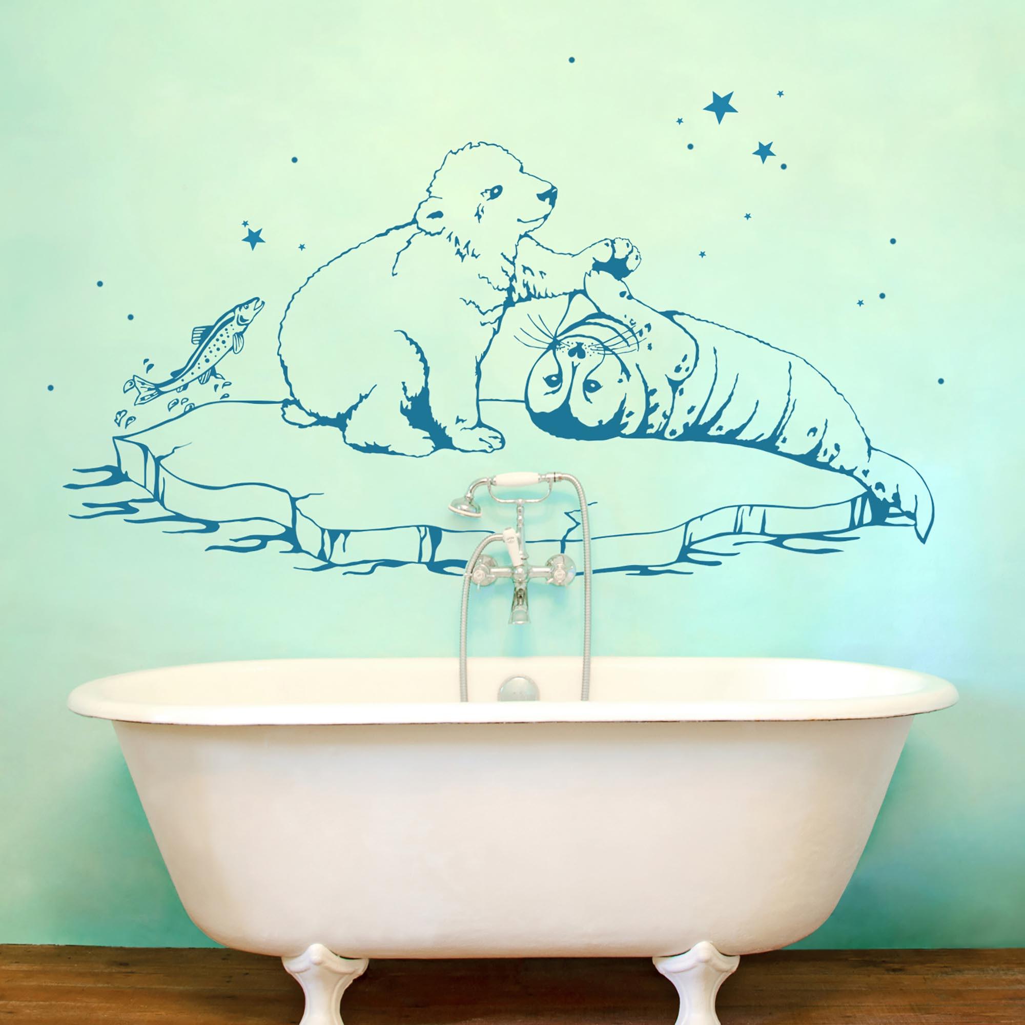 wandtattoo eisb r robbe fische wanddeko bad m1534 wandtattoos elfent r tassen. Black Bedroom Furniture Sets. Home Design Ideas