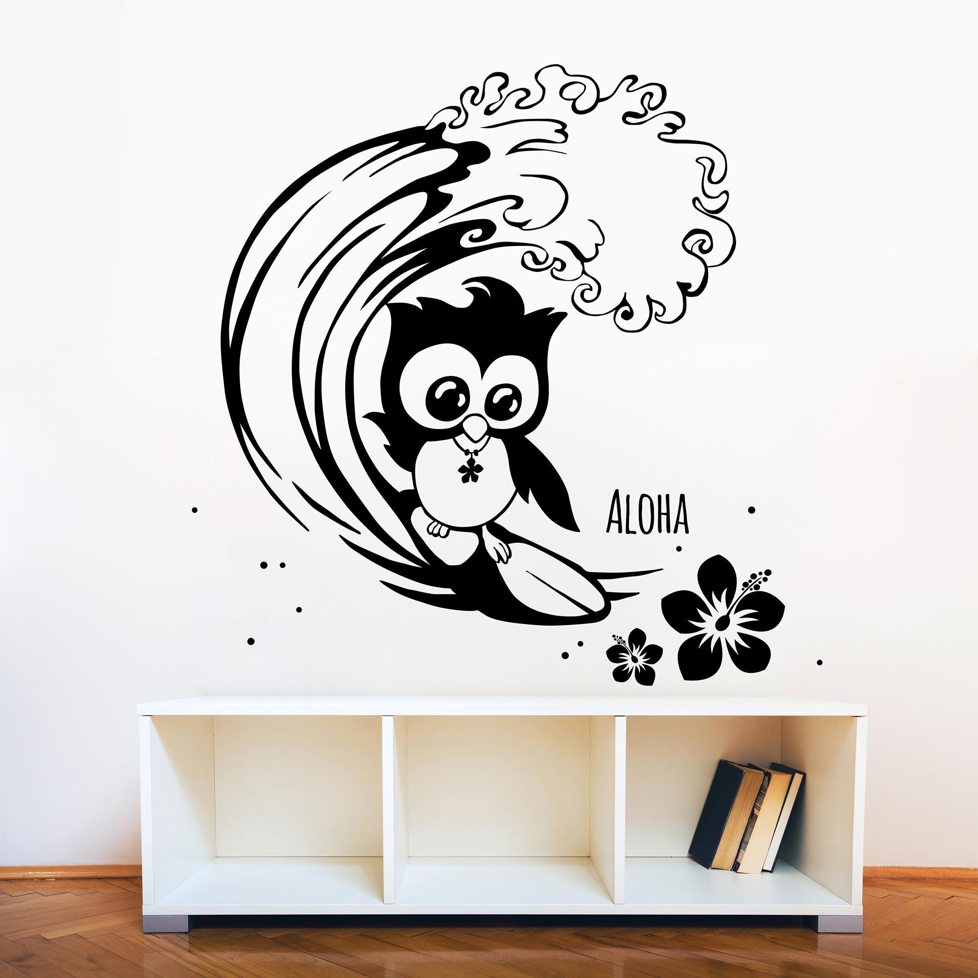 wandtattoo eule surfend surfer surfereule eulen. Black Bedroom Furniture Sets. Home Design Ideas