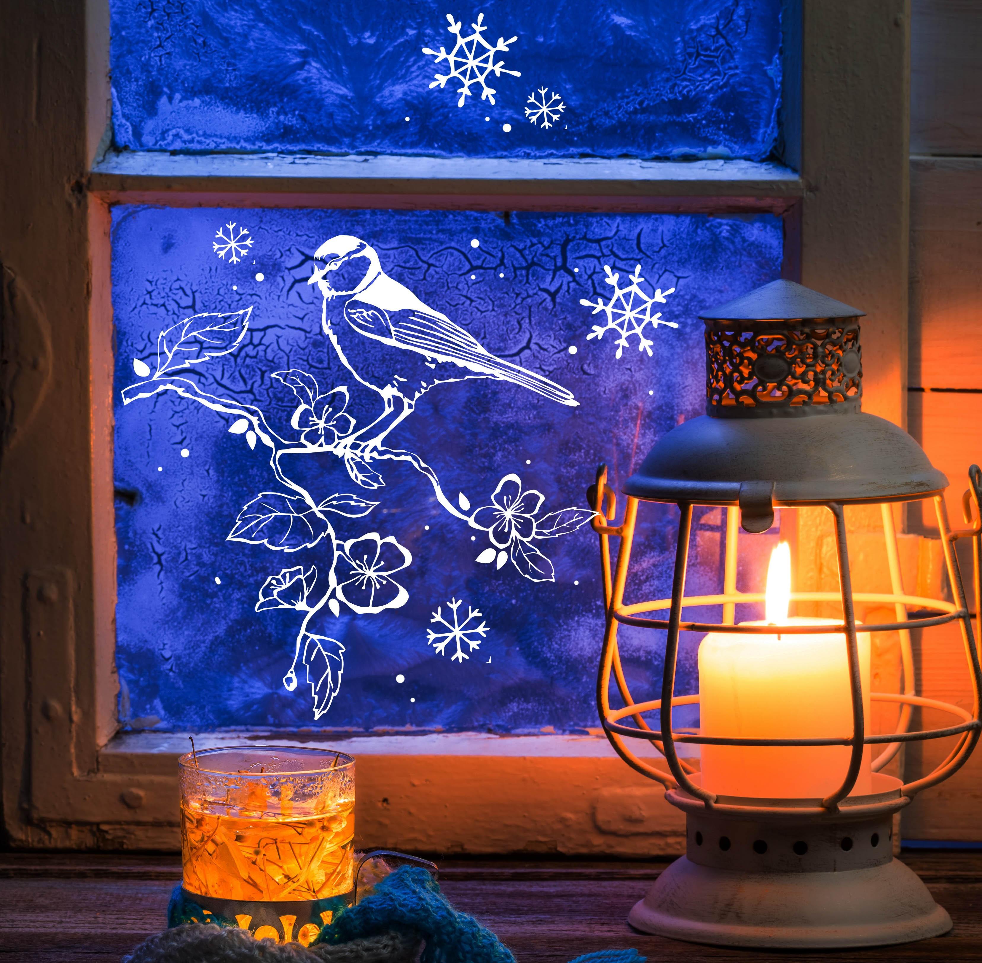 Fensterbild fensterdeko schneeflocken meise auf zweig m1680 wandtattoos elfent r tassen - Fensterdeko zweig ...