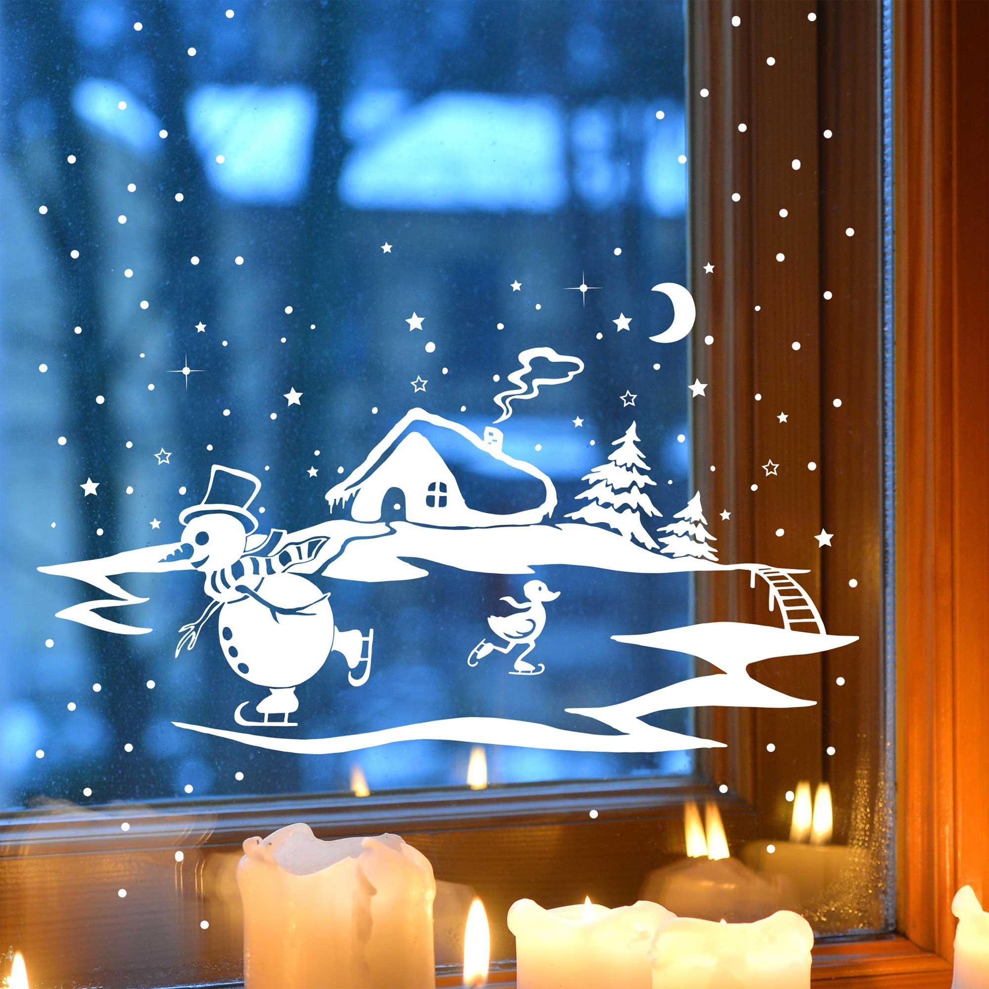Fensterbild fensterdeko winter mit schneemann ente und for Fensterdeko winter