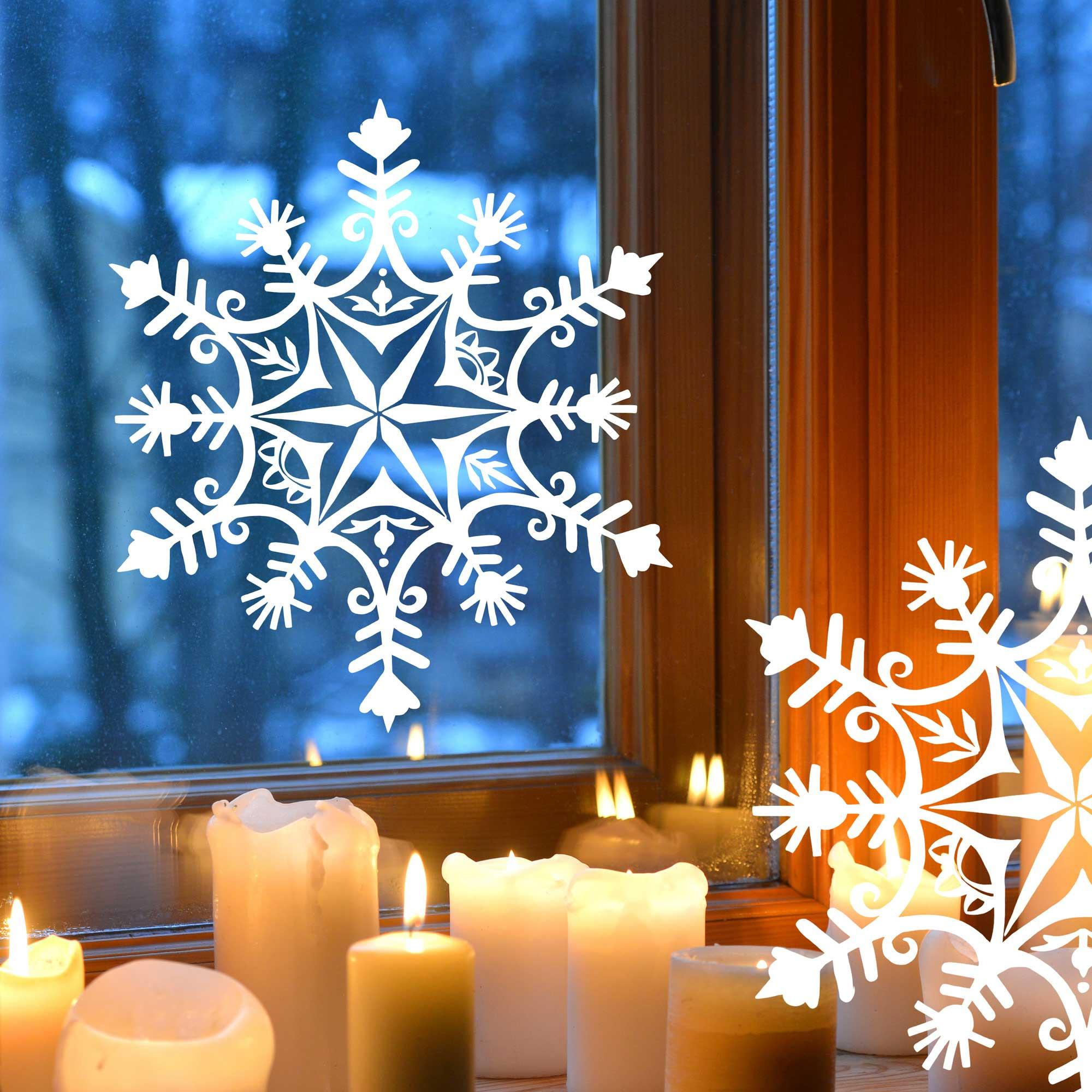 Fensterbild fensterdeko winter schneekristall schneeflocke for Fensterdeko winter