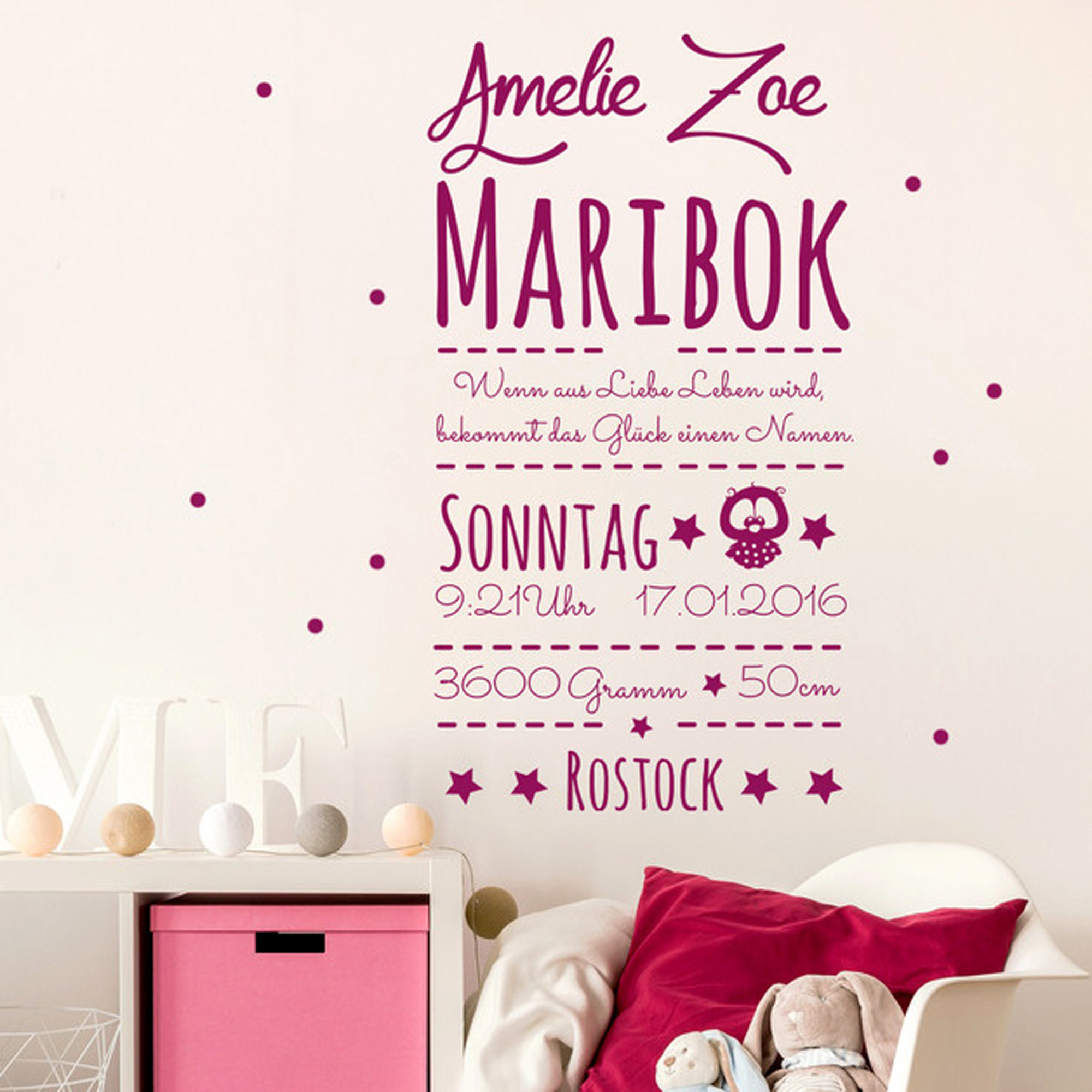 wandtattoo baby geschenk geburtsdaten m1741 wandtattoos. Black Bedroom Furniture Sets. Home Design Ideas