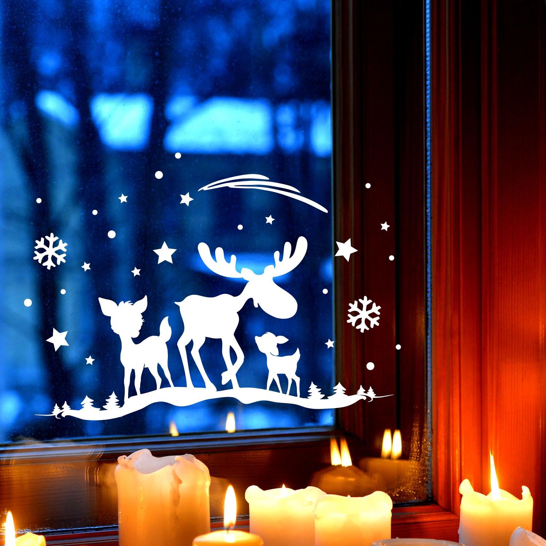 Fensterbild elch rehe fensterdeko fensterbilder winter for Fensterdeko winter