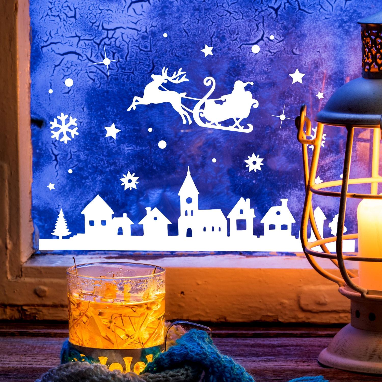 Fensterbild weihnachtsmann an weihnachten winter - Fensterdeko winter ...