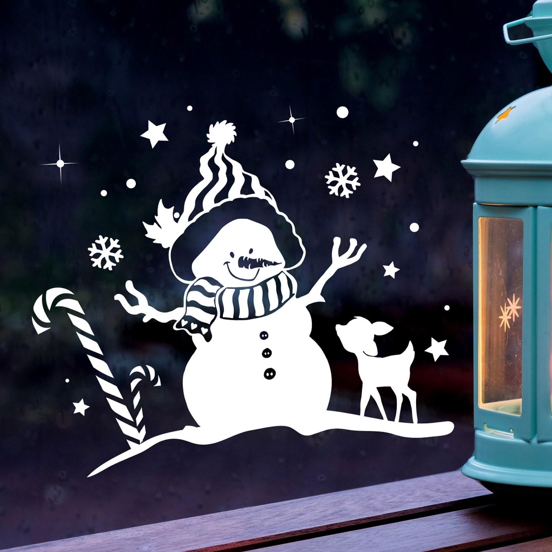 Fensterbild schneemann reh winter fensterdeko - Fensterdeko weihnachten kinder ...