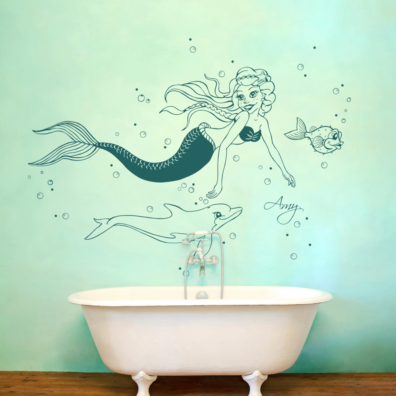 Ausmalbilder Meerjungfrau Mit Delfin : Wandtattoo Meerjungfrau Nixe Delfin Mit Wunschnamen M1610