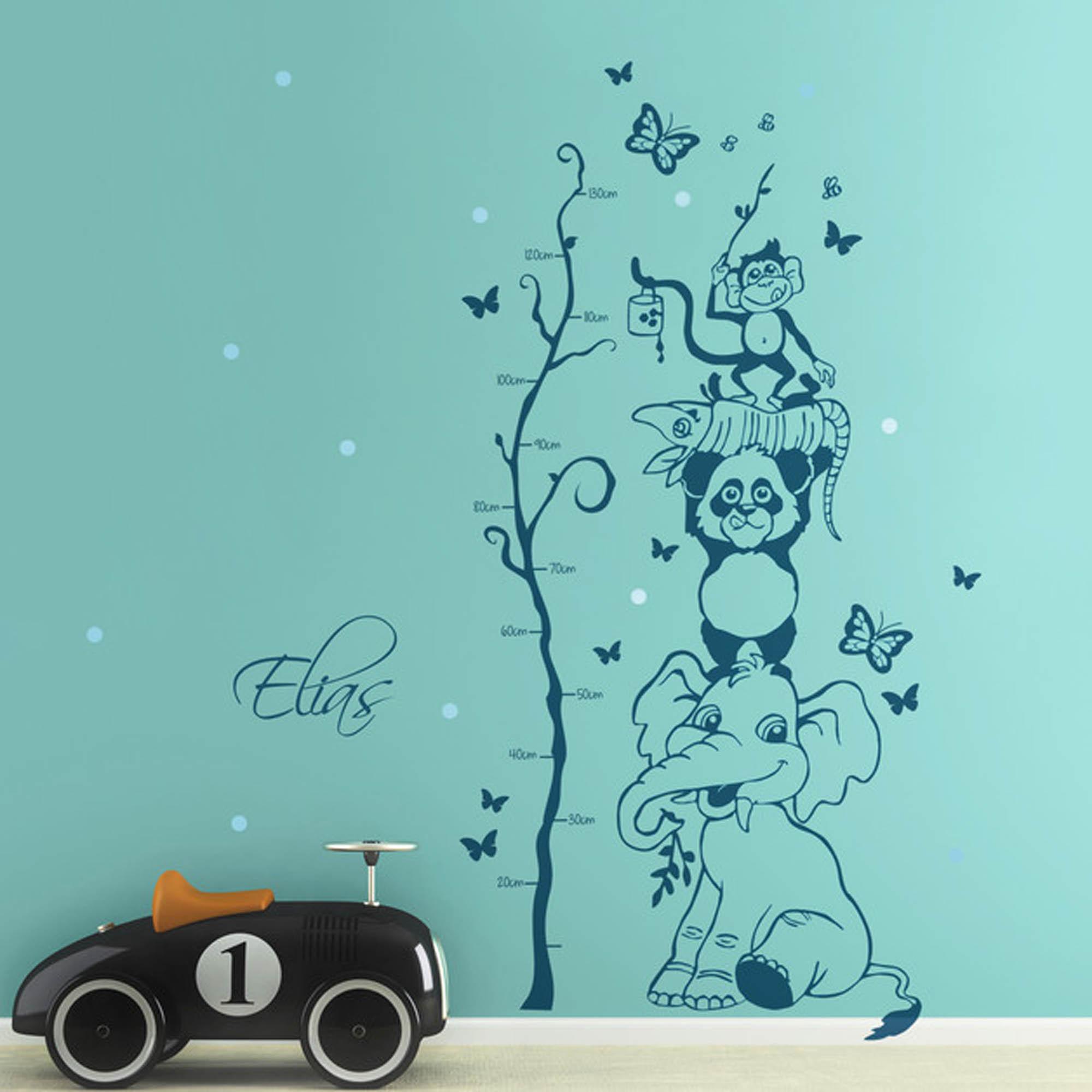 Wandtattoo Kinderzimmer Dschungel Und Elegant Wandtattoo: Wandtattoo Dschungel Tiere Messlatte Baum Mit Wunschnamen