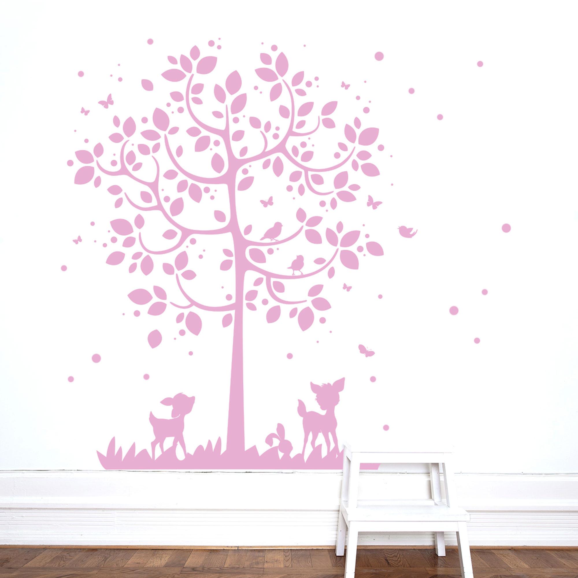Bezaubernd Wandtattoo Bäume Galerie Von Wandsticker Baum Mit Reh Hasen Vögel Schmetterlinge