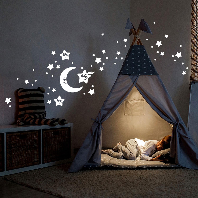 Wandtattoo Sternenhimmel fluoreszierend Leuchtsticker Set Sterne ...