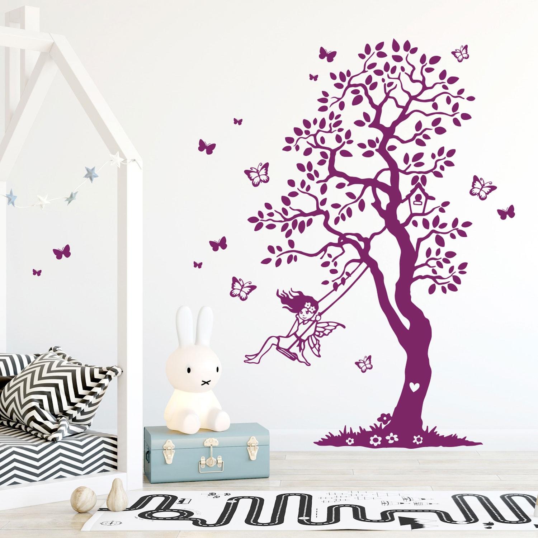 Wandtattoo Baum Elfe Fee Auf Schaukel U0026 Schmetterlinge Kinderzimmer  Wanddeko Wandgestaltung M2335