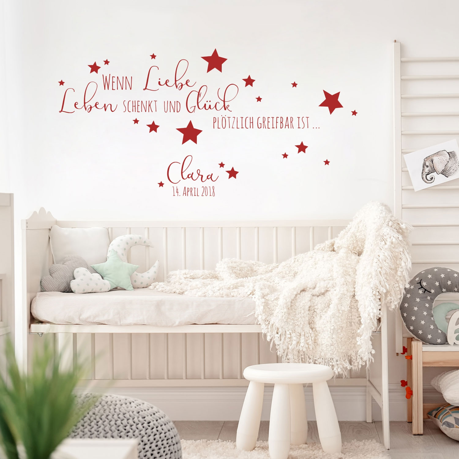 wandtattoo baby geburt spruch zitat sterne kinderzimmer. Black Bedroom Furniture Sets. Home Design Ideas