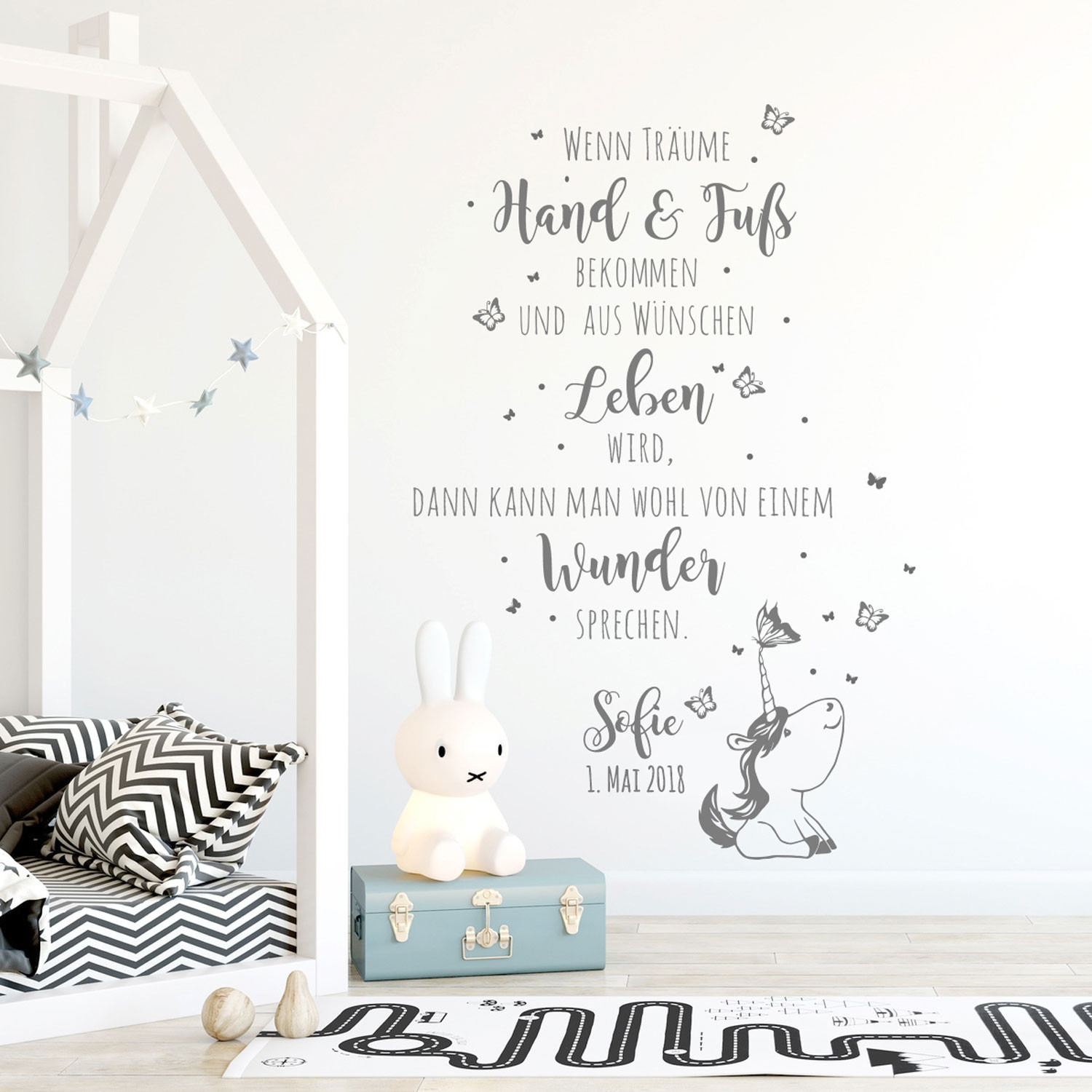 wandtattoo babyzimmer spruch einhorn zitat. Black Bedroom Furniture Sets. Home Design Ideas
