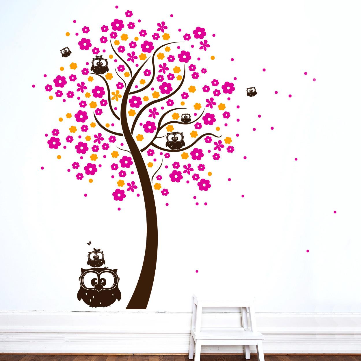 Wandtattoo baum eulenbaum mit bl ten dreifarbig m1030 - Wandtattoo eulenbaum ...