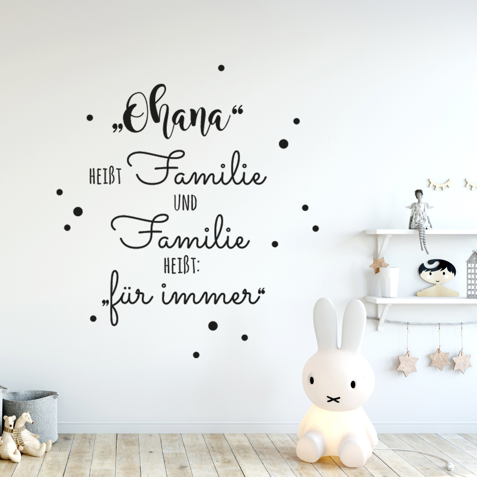 wandtattoo familie aufkleber zitat spruch ohana hei t familie mit punkte wanddeko. Black Bedroom Furniture Sets. Home Design Ideas
