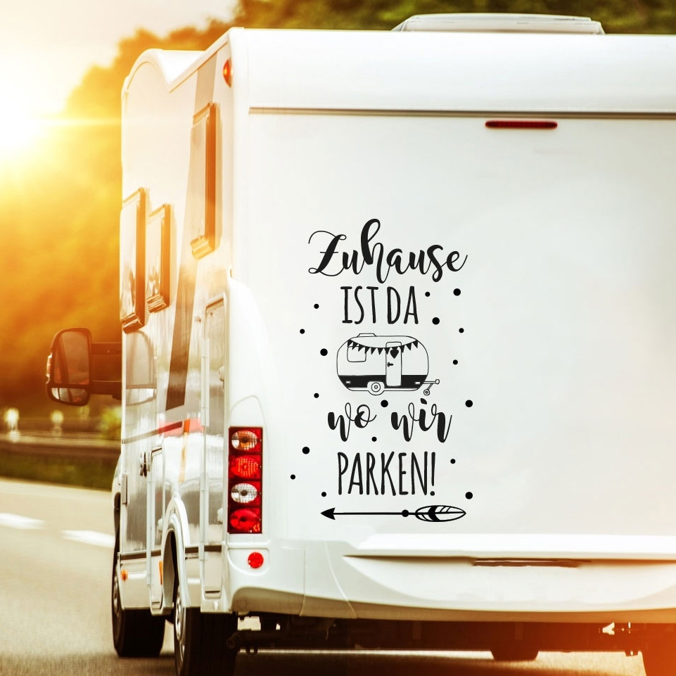 autotattoo heckscheibenaufkleber wohnwagen sticker mit motto spruch zuhause ist wo wir parken. Black Bedroom Furniture Sets. Home Design Ideas