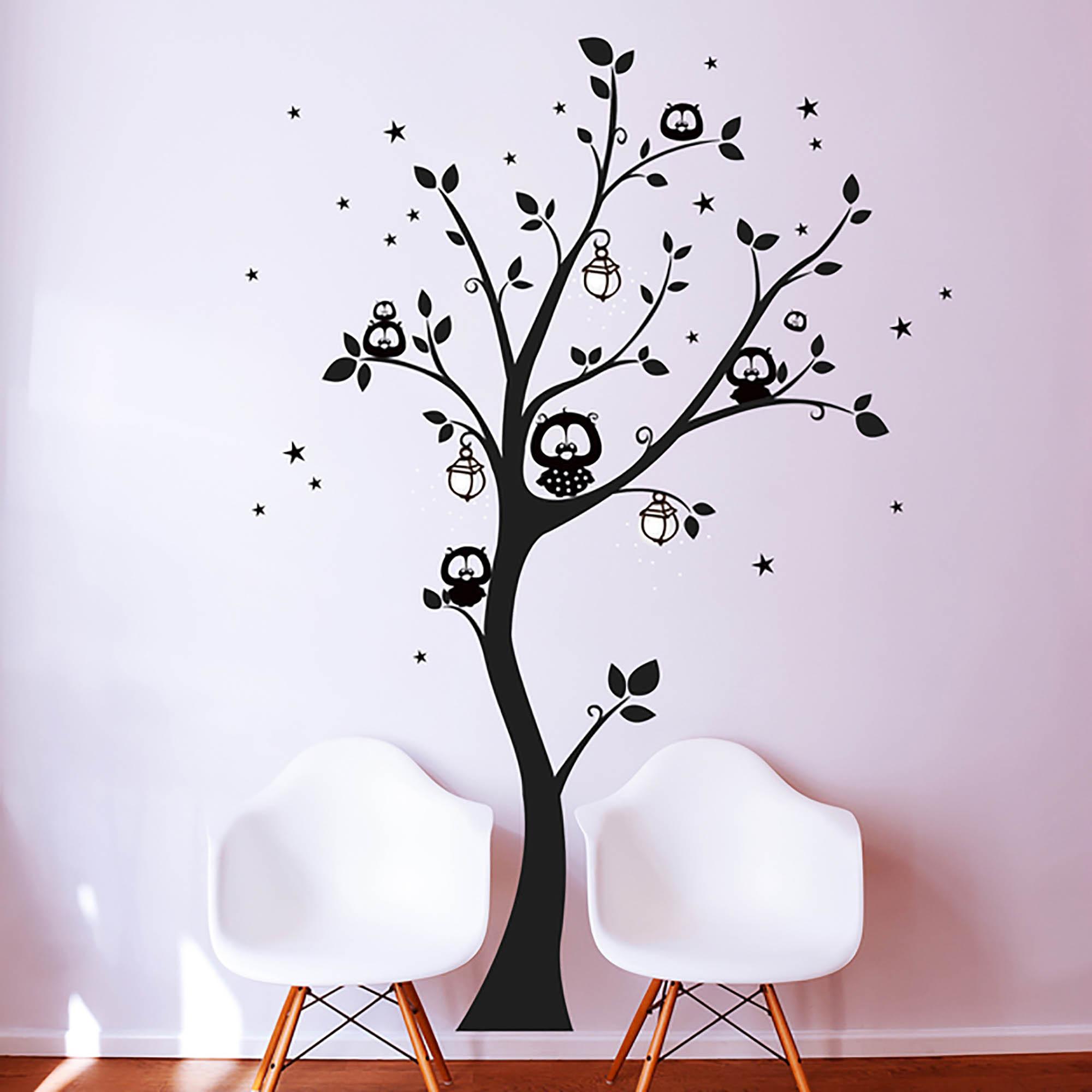 Wandtattoo Eulenbaum Eulen Auf Baum Mit Sternen Und Fluoreszierenden