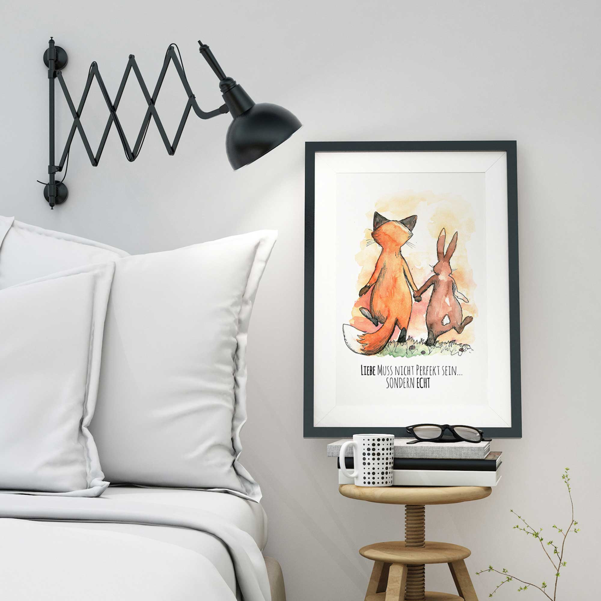 a3 print illustration poster hase und fuchs mit spruch liebe muss nicht perfekt sein sondern. Black Bedroom Furniture Sets. Home Design Ideas