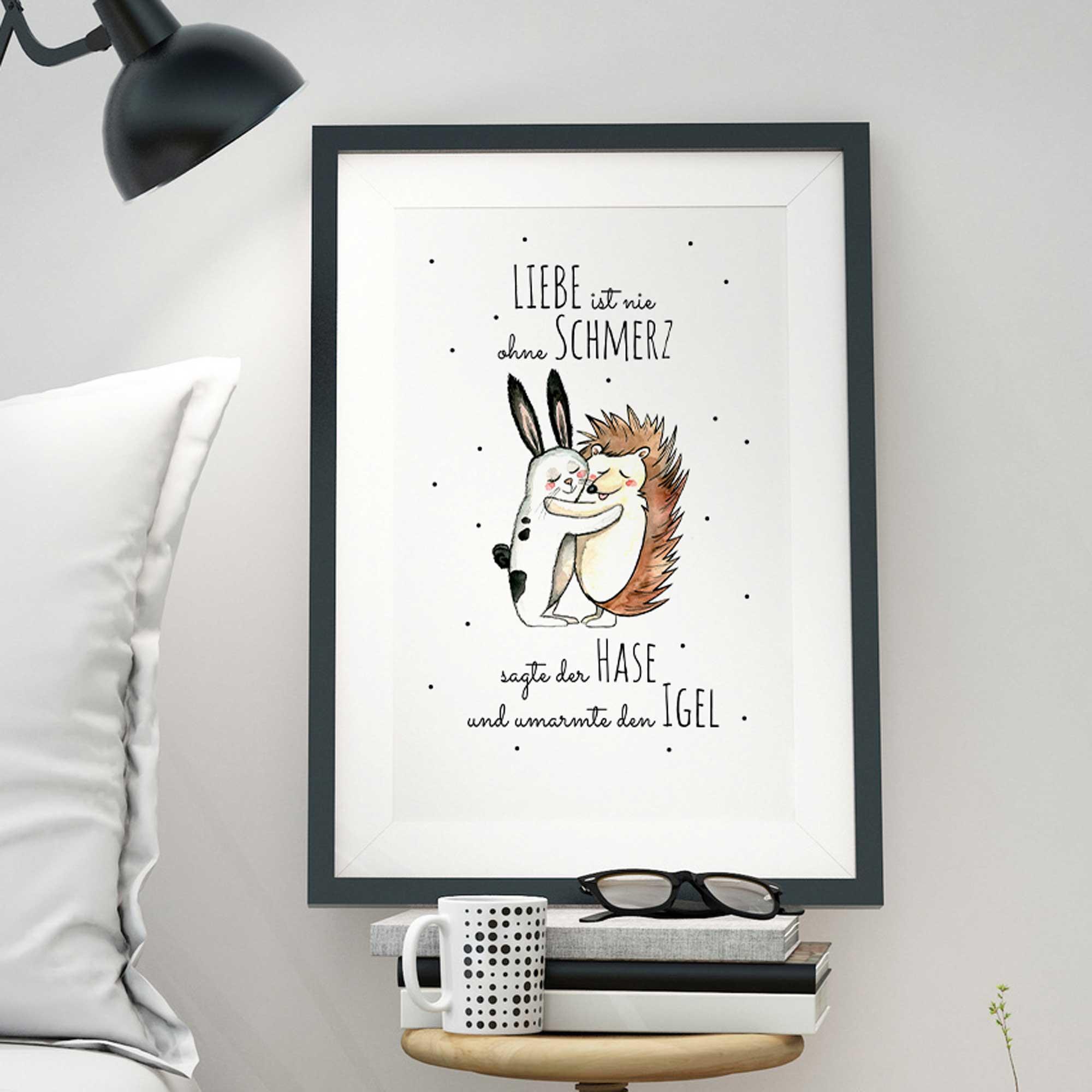 a3 print illustration poster plakat hase und igel mit