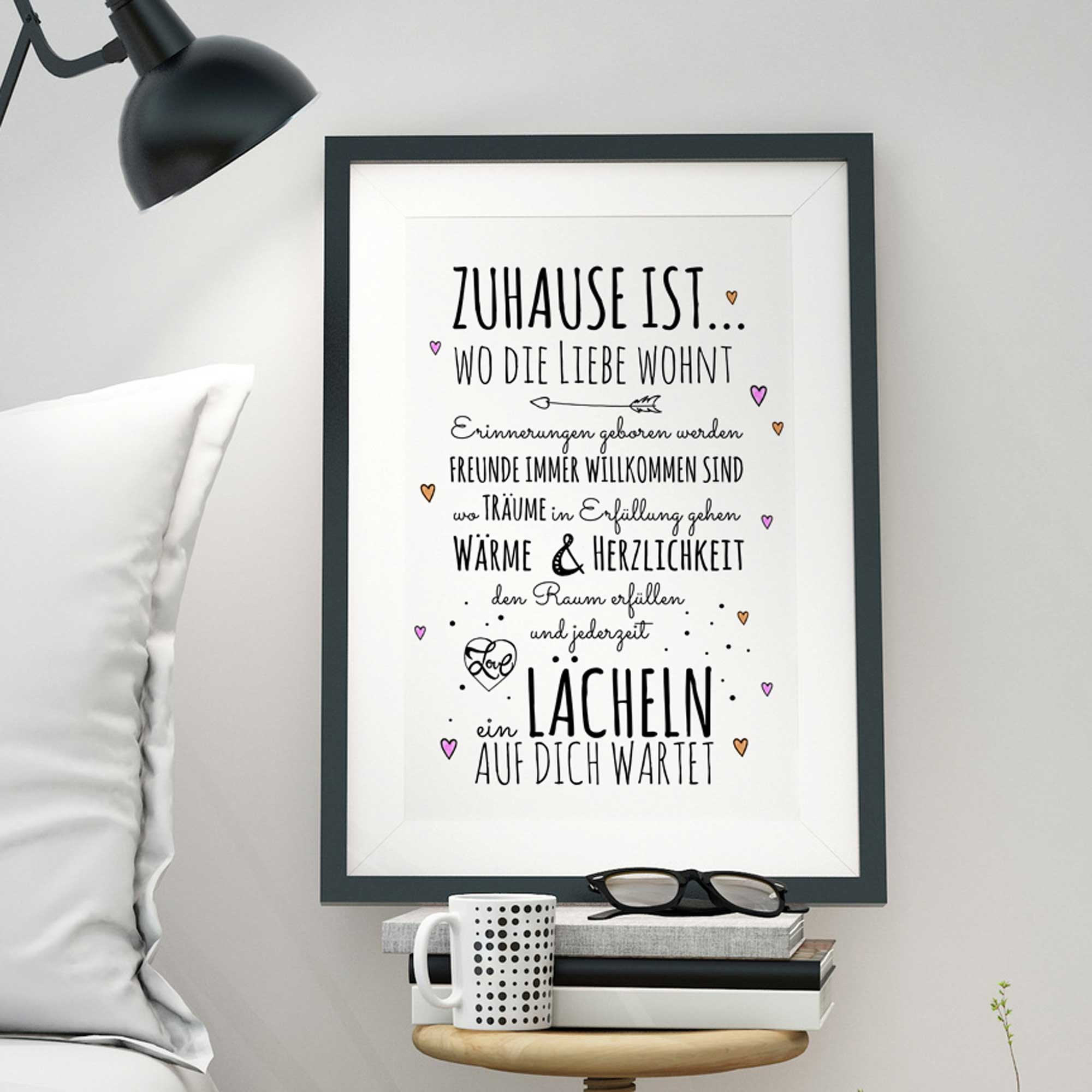 a3 print illustration poster plakat spruch zuhause ist hausordnung mit herzen p33. Black Bedroom Furniture Sets. Home Design Ideas