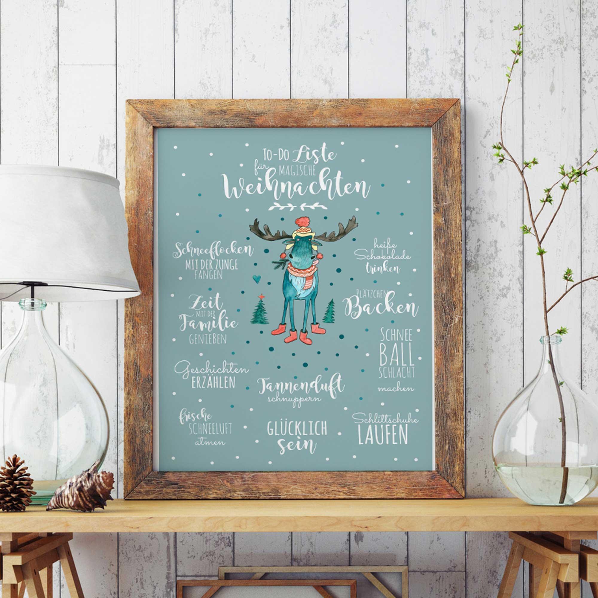 A3 Print Illustration Poster Plakat magische Weihnachten mit Rentier ...