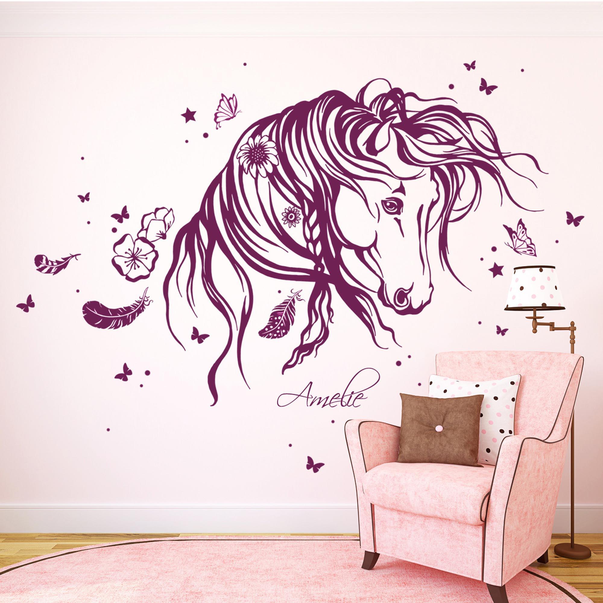 wandtattoo pferd wildpferd mit blumen federn und On wandtattoo pferd
