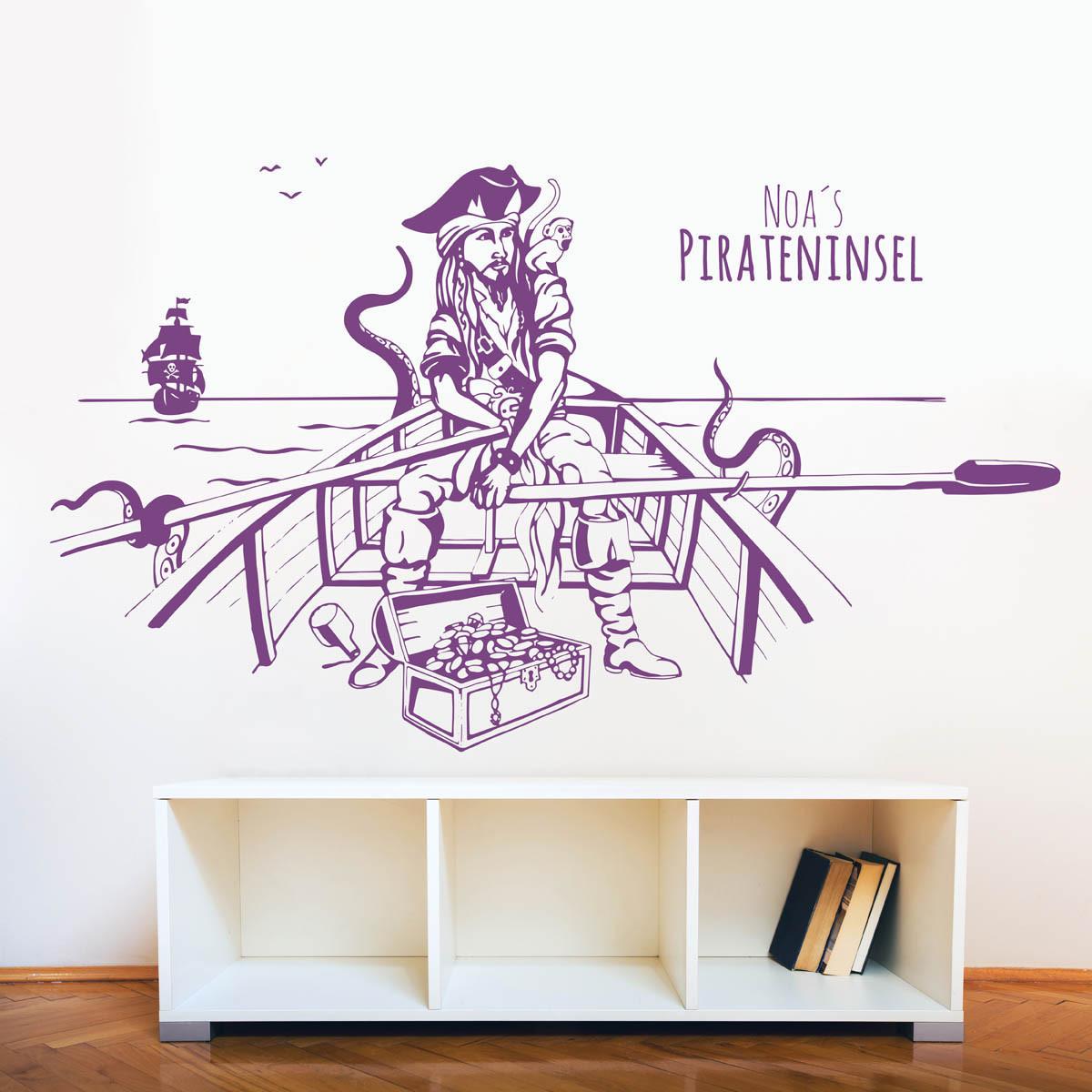 wandtattoo pirateninsel pirat schatz mit wunschname m1644. Black Bedroom Furniture Sets. Home Design Ideas