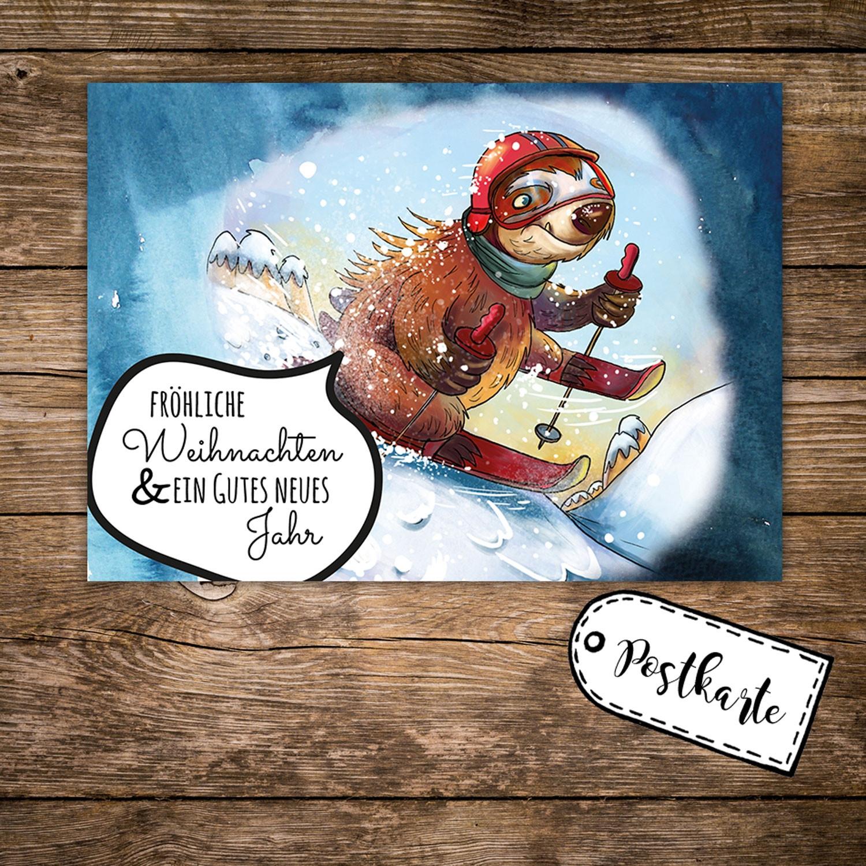 A6 Weihnachtskarte Postkarte Weihnachten Print mit Faultier und ...
