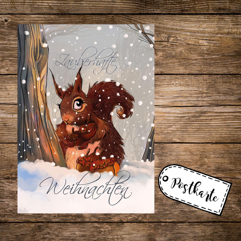 A6 Weihnachtskarte Postkarte Print mit Eichhörnchen im Winterwald ...