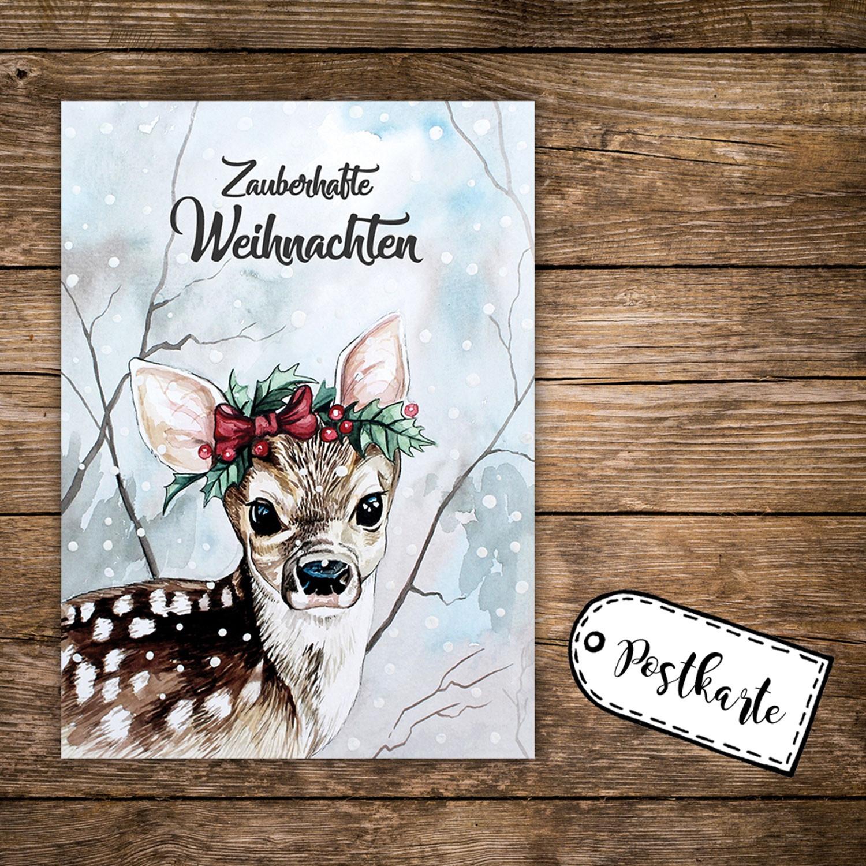 A6 Weihnachtskarte Postkarte Print Reh Rehkitz im Wald mit Spruch ...