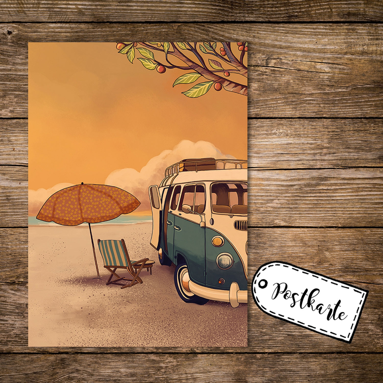 A6 Postkarte Spruchkarte Print mit Bulli Bus Surfbus am Strand Karte ...