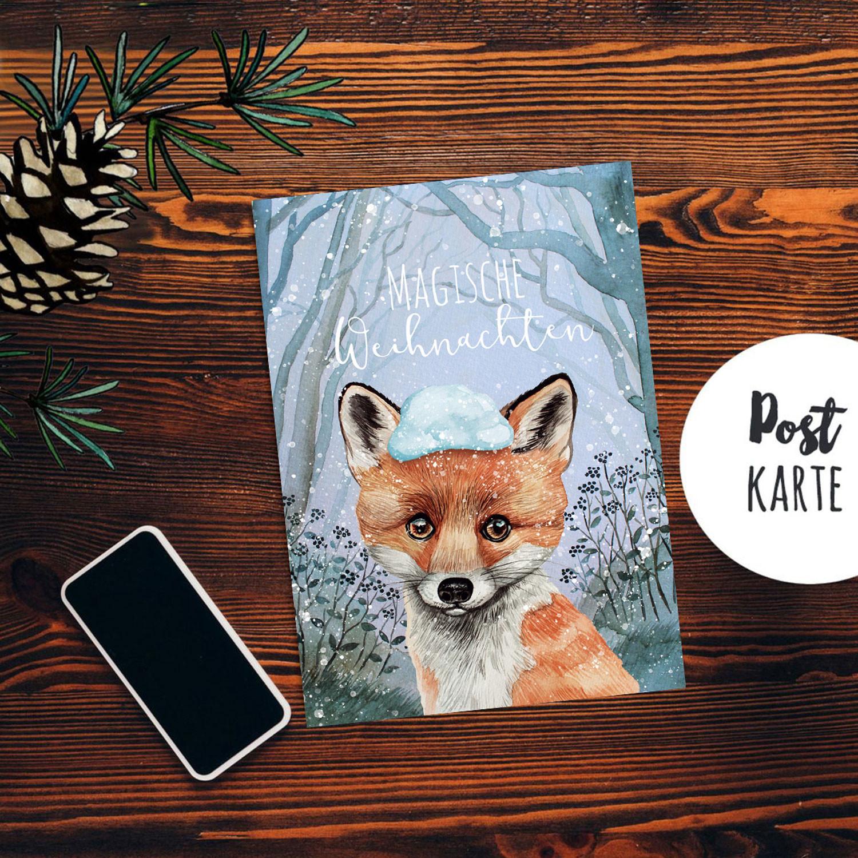 Weihnachtsgrüße Postkarte.A6 Weihnachtskarte Weihnachtsgrüße Postkarte Print Fuchs Im