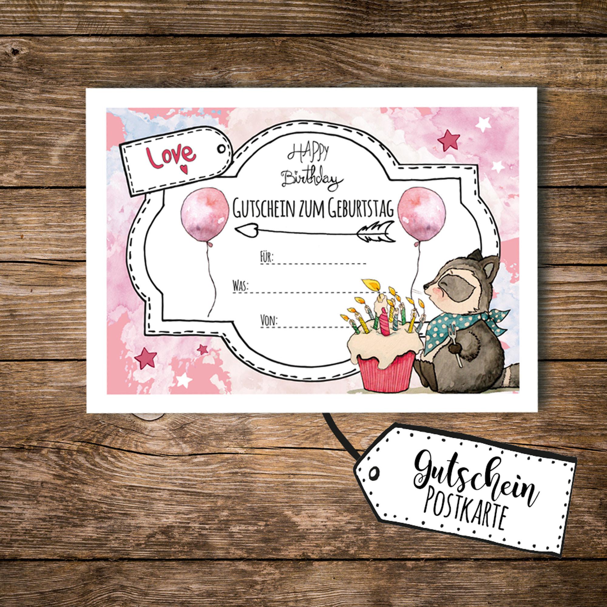 a6 postkarte gutschein zum geburtstag mit waschb r kuchen und luftballons rosa pk095. Black Bedroom Furniture Sets. Home Design Ideas