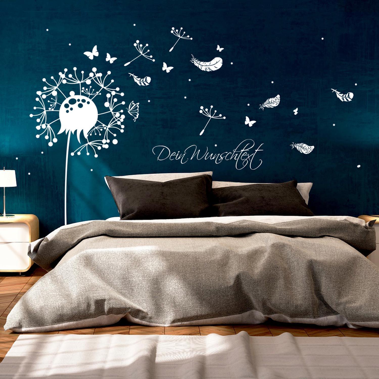 wandtattoo wandaufkleber pusteblume mit schmetterlingen federn und punkten m1920 wandtattoos. Black Bedroom Furniture Sets. Home Design Ideas