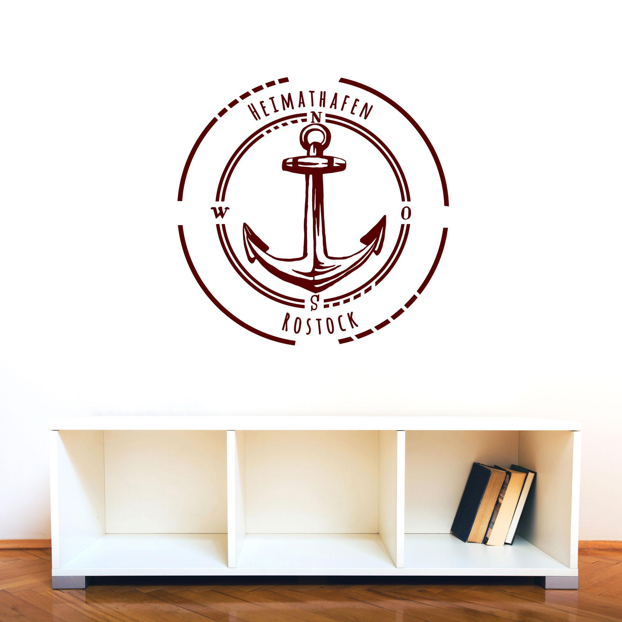 wandtattoo heimathafen rostock mit anker im kreis maritim m2078 wandtattoos elfent r tassen. Black Bedroom Furniture Sets. Home Design Ideas