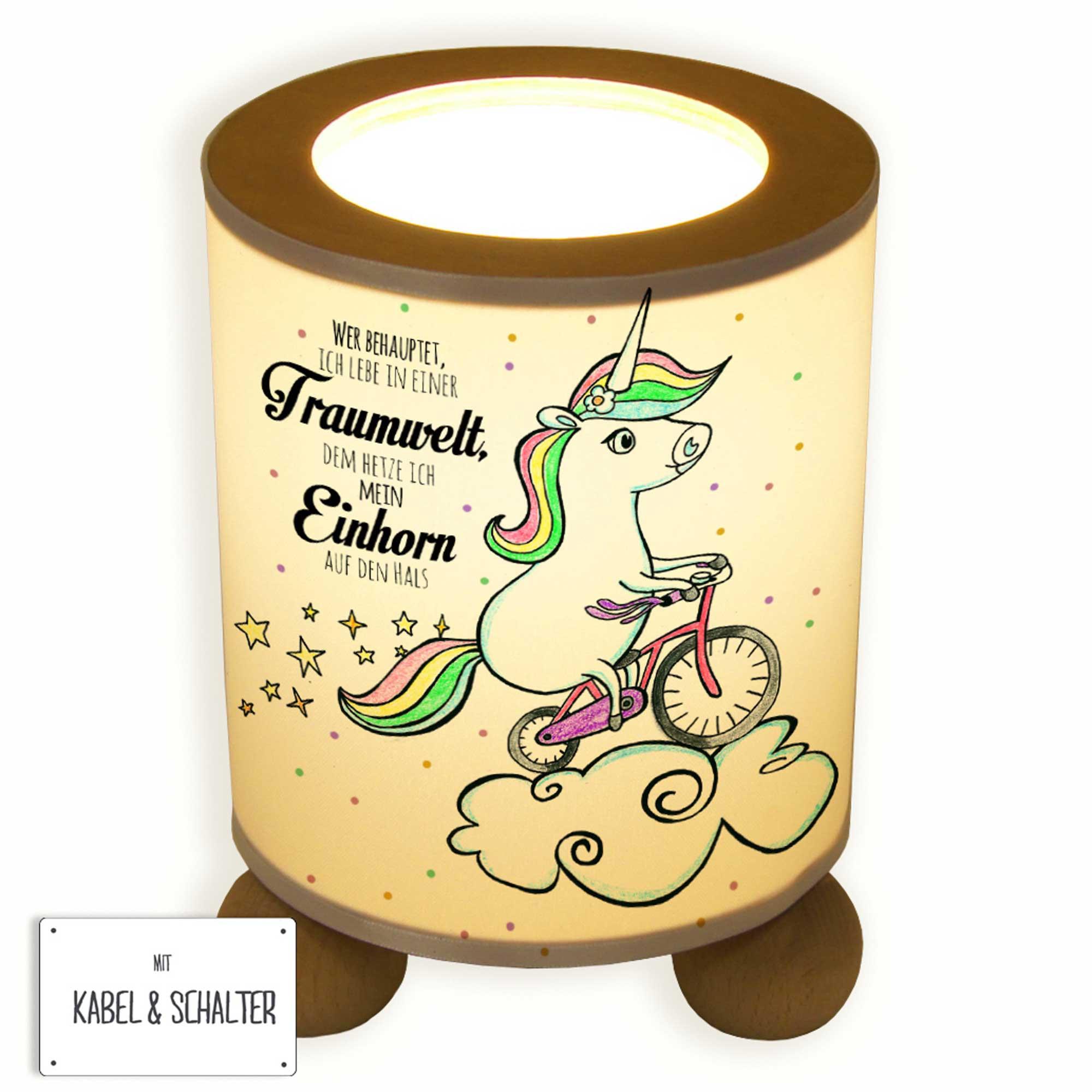 Tischlampe gezeichnet  Tischlampe Einhorn auf Fahrrad mit Sternen Punkten und Spruch ...
