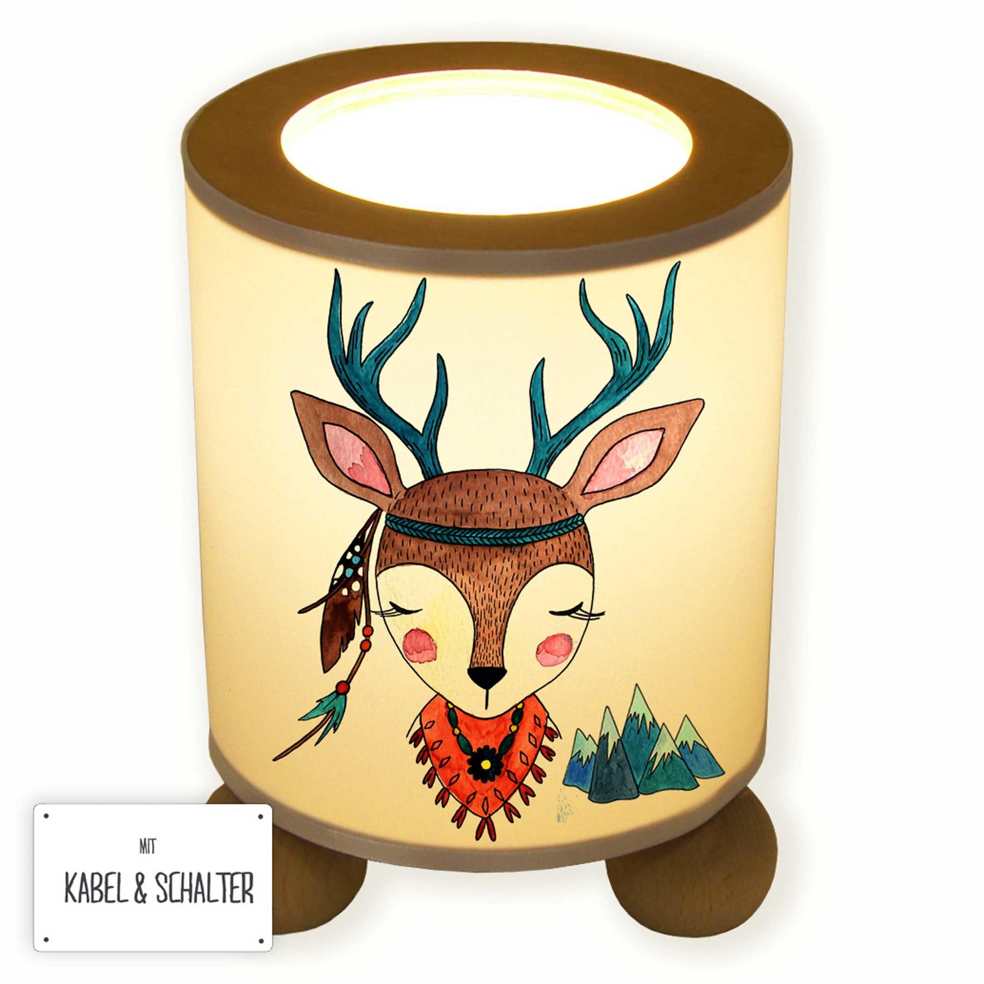 Tischlampe Nachttischlampe Kinderlampe Schlummerlampe Lampe Reh Hirsch Madchen Hirschmadchen Indianer Boho Table Lamp Reading Light Snooze