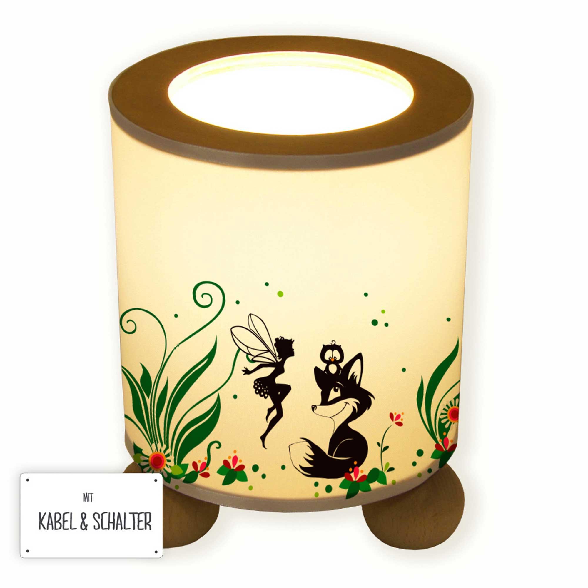 Tischlampe gezeichnet  Tischlampe Fuchs Eule und Fee Elfe mit Blumen und Blüten tl061 ...