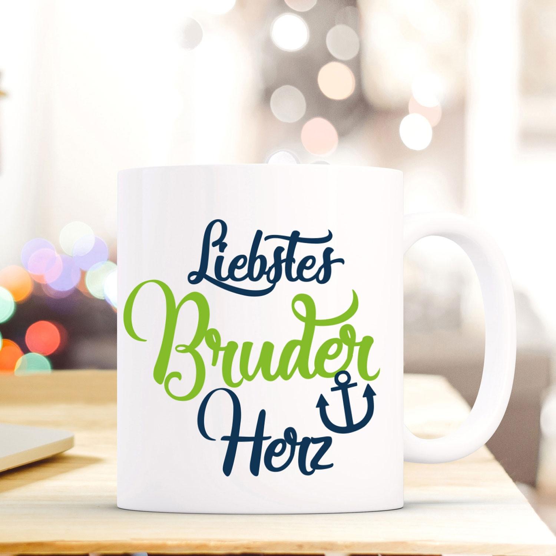 Tasse Becher mit Spruch Liebstes Bruder Herz\