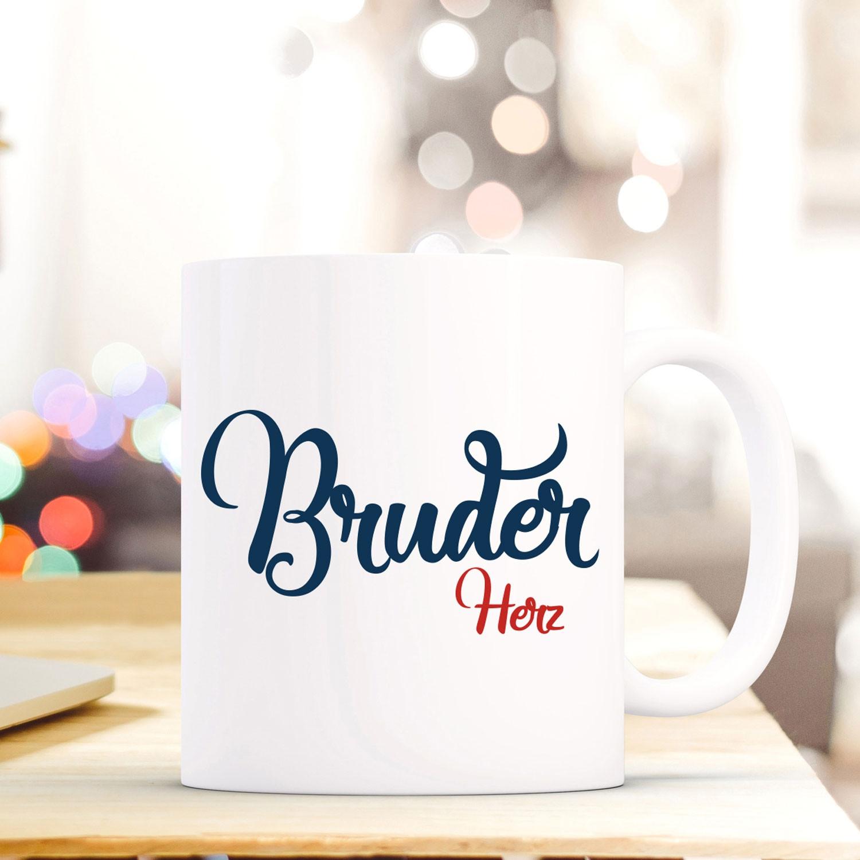 Tasse Becher mit Spruch Bruder Herz\