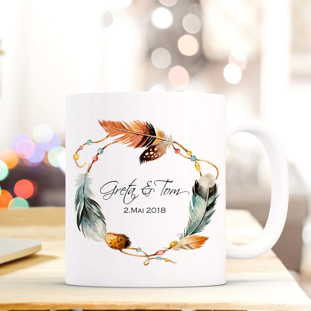 Tasse Becher Federkranz Namen Datum Kaffeebecher Präsent Geschenk Hochzeit Ts609 Tassen Büro & Schreibwaren