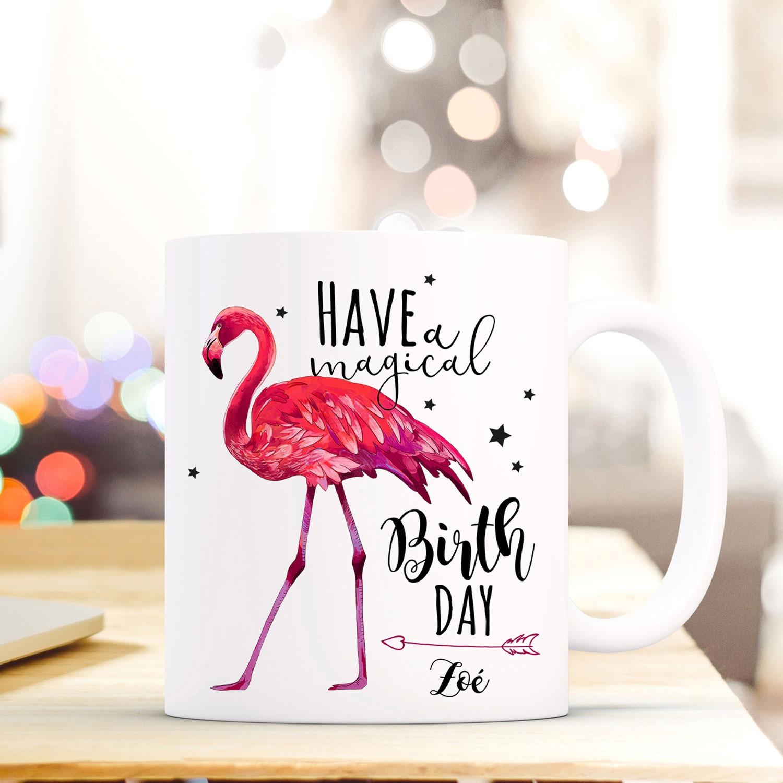 Geschenk- & Werbeartikel Tassen Tasse Becher Geburtstag Flamingo Spruch Birthday Geschenk Namen Wunschname Ts685